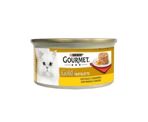 Храна за котки Гурме Голд 85г Кейк Пилешко месо и морков