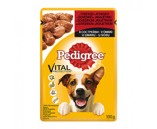 Храна за кучета Педигри 100г Пауч Говеждо и агнешко месо
