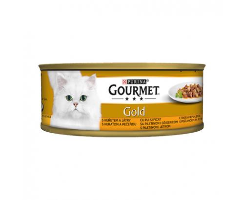 Храна за котки Гурме Голд 85г Пиле и черен дроб