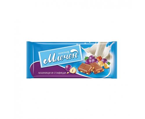 Шоколад Млечен 80г Лешници и стафиди