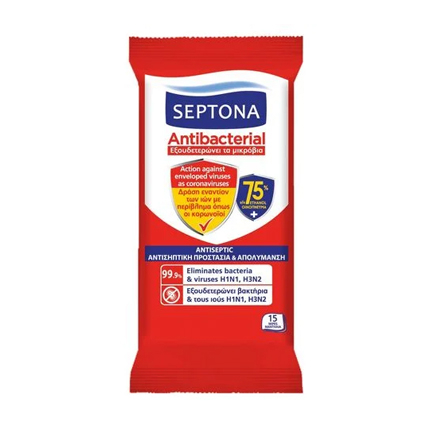 Антибактериални влажни кърпи Септона 15бр Антисептик