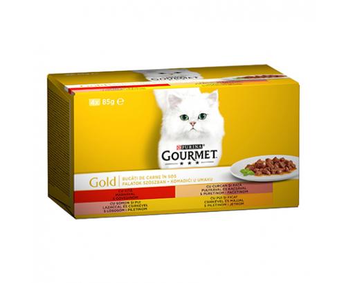 Храна за котки Гурме Голд 4х85г Месни Хапки в сос