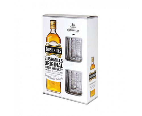 Уиски Бушмилс 700мл + 2 високи чаши