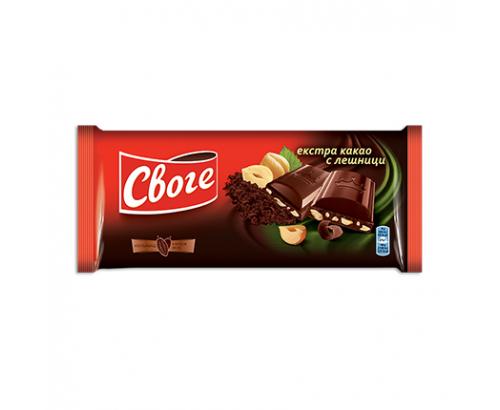 Шоколад Своге 90г Натурален с лешник