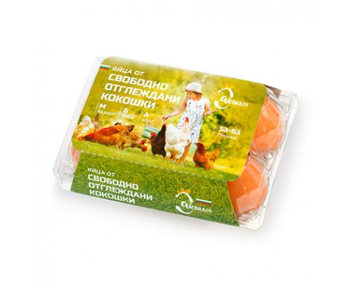 Яйца от свободно отглеждани кокошки 6бр Размер М