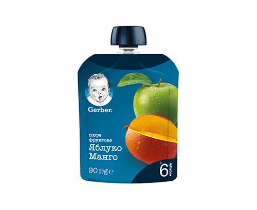 Плодов мус Гербер 90г Ябълка и манго