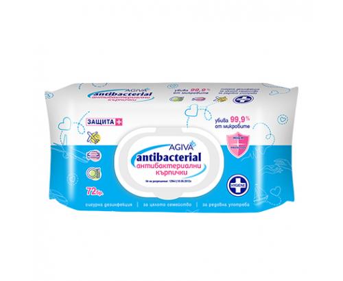 Антибактериални мокри кърпи Агива 72бр