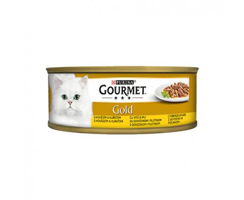 Храна за котки Гурме Голд 85г Двойно Удоволствие  Говеждо и пилешко месо