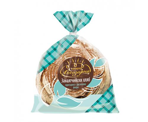 Хляб Занаятчийски Пекарана Лъчезарна  600г Едрозърнест с фибри