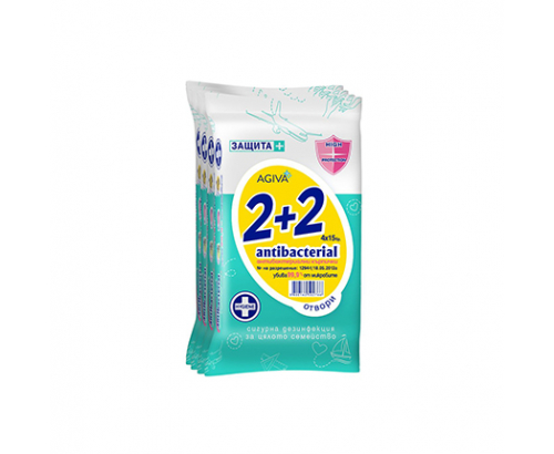 Антибактериални мокри кърпи Агива 15бр 2+2
