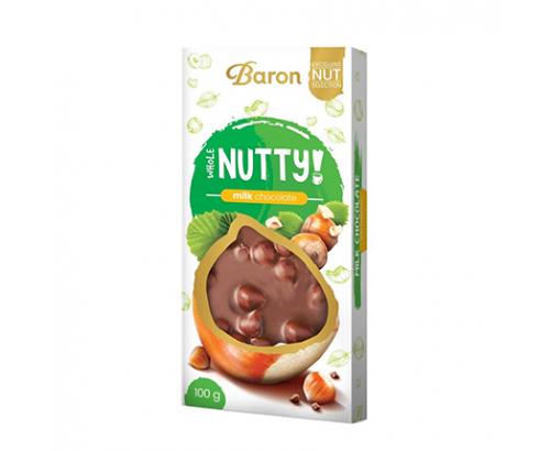 Шоколад Барон Нъти 100г Млечен с цял лешник