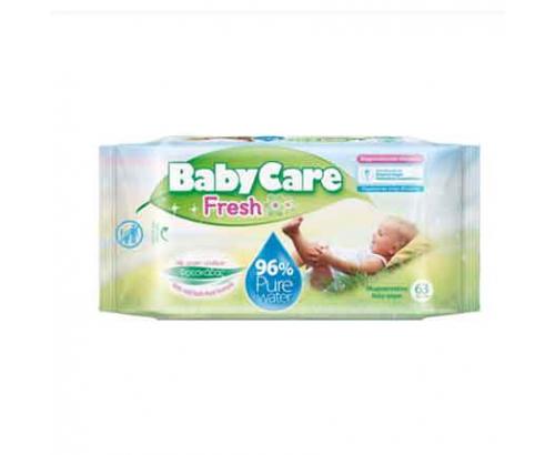 Бебешки мокри кърпички Бейби кеър 63бр Фреш