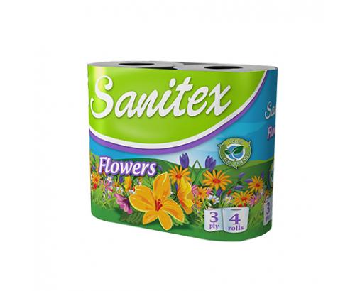 Тоалетна хартия Санитекс 4бр Цветя