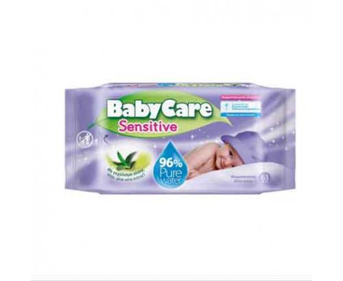 Бебешки мокри кърпички Бейби кеър 63бр Сензитив