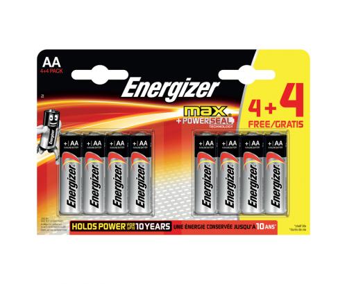 Батерии Енерджайзер макс АА 4+4бр. алкални
