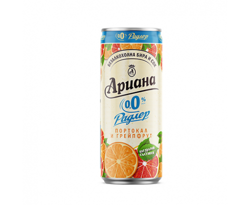 Бира Ариана Радлер 330мл Портокал и грейпфрут 0% алкохол