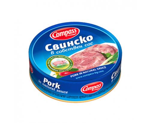 Свинско месо в собствен сос Компас 180г
