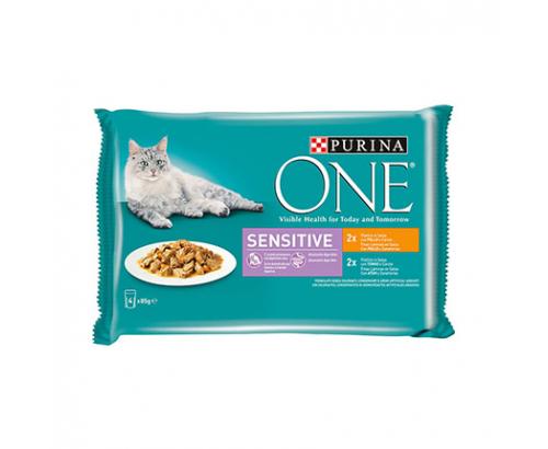 Храна за котки Пюрина Сензитив 4х85г Пауч Пилешко месо и риба тон
