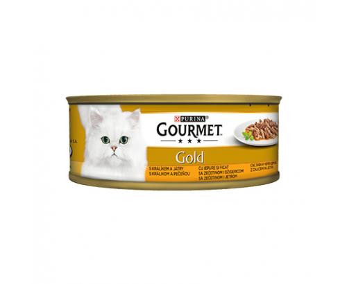 Храна за котки Гурме Голд 85г Двойно Удоволствие Заешко месо и черен дроб