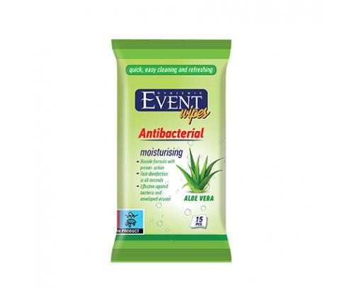 Антибактериални мокри кърпи Ивент 15бр Алое